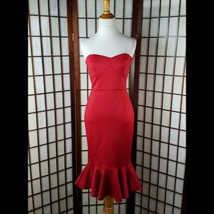EXPRESS RED Lined Mermaid STRAPLESS DRESS